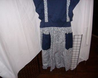 Blue Cherry Ruffled Bib Apron