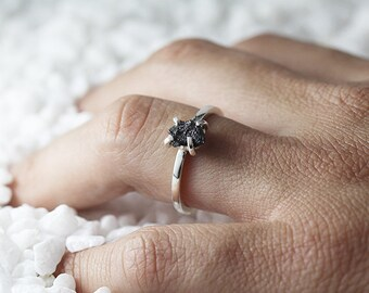 Uncut Diamond Ring Black Rough Sterling Silver Delicate Rings