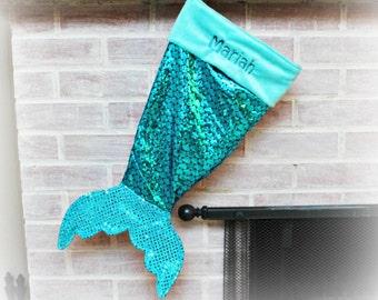 Mermaid Tail Christmas Stocking - Personalize - Stocking - Kids Stocking -
