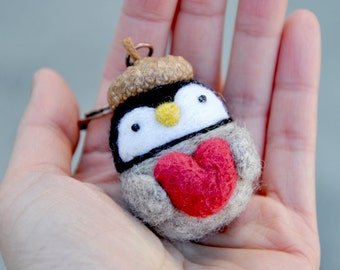 Needle felted penguin keychain, valentines day gift for her, valentine doll, heart keychain, penguin gift