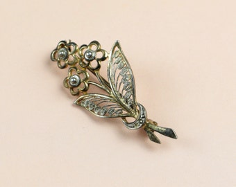 Vintage brooch costume jewely stick pin silver gold textured flowers brooch