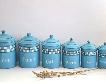 Beautiful series of 6 enameled pots Art Deco French country