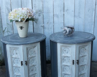 Shabby Cottage Chic Vintage End Tables Round Gray Side Tables French Country Nightstand Antique Rustic Decor