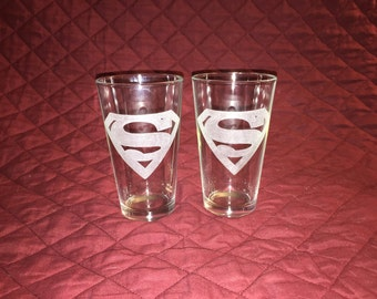 2 Hand Etched Superman Pint Glasses!