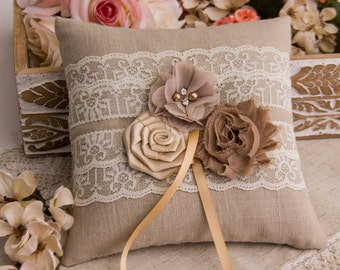 Cottage Chic Ring Bearer Pillow, Rustic Ring Bearer Pillow, Champagne Ring Bearer Pillow, Wedding Ring Pillow with Flowers