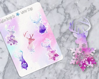 Watercolor Winter Stags Deco / Planner Stickers / Scrapbook / Fits Erin Condren & MAMBI / Kikki K / FiloFax