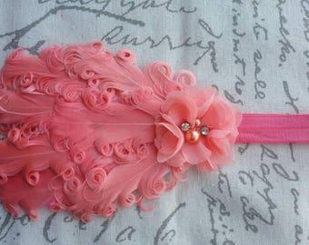 Coral Feather Headband Rhinestone & Pearl Flower Wedding/Pageant/Photo Prop