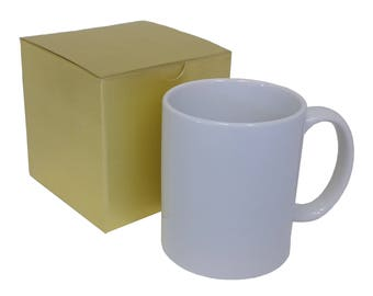 SET of FOUR - Blank White Ceramic Coffee Mugs With Recycled Gold Gift Boxes