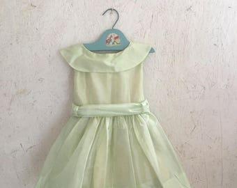 40s Toddler Girls Celery Green Organdy Party Dress Flower Girl Dress Size 3-4