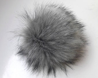 Size L (charcole grey- black tips) faux fur pom pom 6 inches/ 15cm