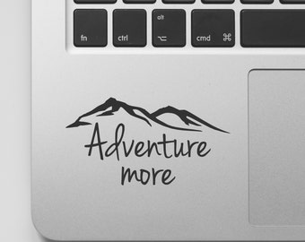 Macbook Decal Quote | Mountain Design Adventure More | Explore Travel | Motivational Laptop Decal Quote | Inspirational Macbook Sticker