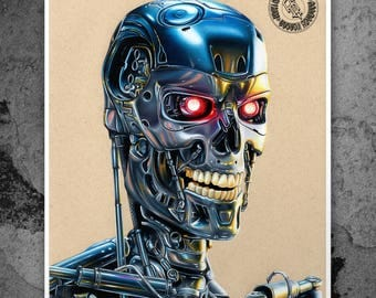 Terminator T800 - Illustrated Gicleé Print