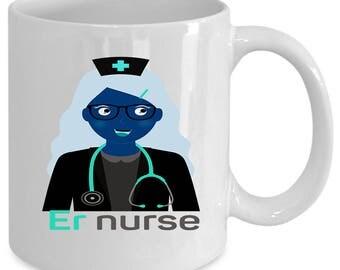 ER Nurse white coffee mug. Funny ER Nurse gift