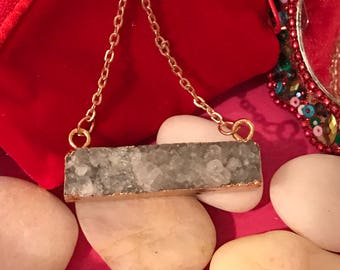 Druzy Bar Necklace, Gold Dipped Druzy, Drusy Jewelry, Crystal Necklace, Layering Druzy Necklace