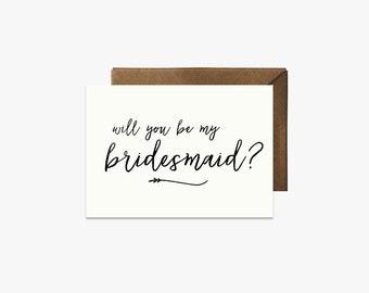 Will you be my bridesmaid? Card + Kraft Envelopes Card --- SIM010