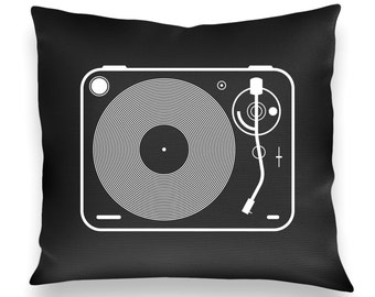 Vintage Turntable Pillow GRAY