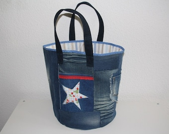 great jeans bag with stars Upcycling
