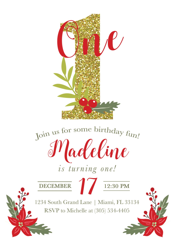 Christmas Invitation Christmas Birthday Invitation engraved holiday ...