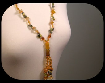 Handcraftrd Agate Fluorite Variscite Quartz & Citrine NECKLACE with Tassel