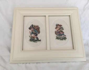Framed and matted hummel needlepoint