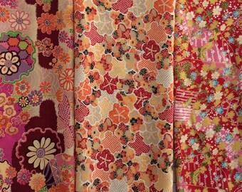 Set of 3 Kimono Chirimen Scraps, Japanese Fabric