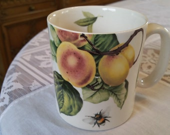 Vintage Spode Fruit Haven Mug, coffee cup, peaches, bumble bee, marked, modern, contemporary, kitchen decor, spode coffee cup, farmhouse,