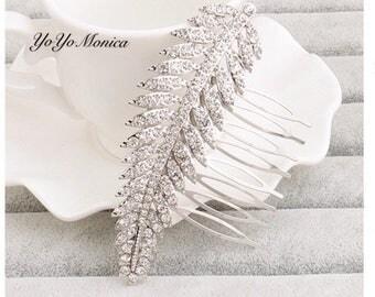 Crystal Rhinestone Bridal Hair Comb, Feather Rhinestone Wedding hair comb, Leaf bridal hair comb,  crystal hair comb, bridal barrette