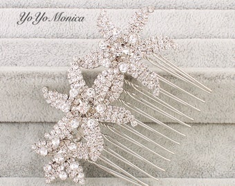 Crystal Rhinestone Bridal Hair Comb, Three-Flower Wedding hair comb, bridal hair comb, bridal hair accessories,  bridal barrette