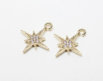 P0511/anti-Tarnished  Gold Plating Over Brass/Cubic Shinning Star Pendant/12.5x14mm/2pcs