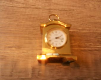 Miniature watch brass watch, solid, CMI quartz table clock, mantel clock