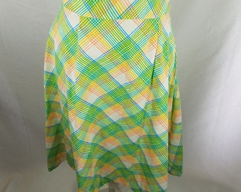 Vtg Mod Bright Pink Green Blue Yellow Plaid Circle Skirt Full Large