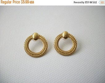 ON SALE Vintage 1950s Gold Tone Textured Metal Earrings 112116