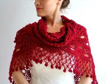 Crochet shawl, red shawl, bridal shawl, wedding shawl, dark red shawl, bordo shawl, burgundy shawl, bridal wrap, fast shipping