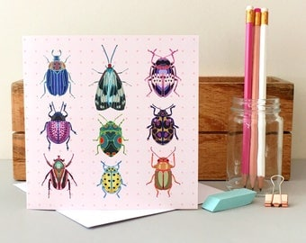 Bug Card - Insect Card - Blank Card - Birthday Card - Thank You Card - Thinking of You Card - Bug Greeting Card