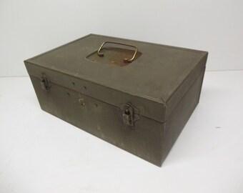 Vintage Industrial Metal Storage Box Army Green - Shabby Chic Decor Steel Organization