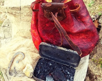Primitive Fire Kit with Forged Striker and Deer Hide Pouch