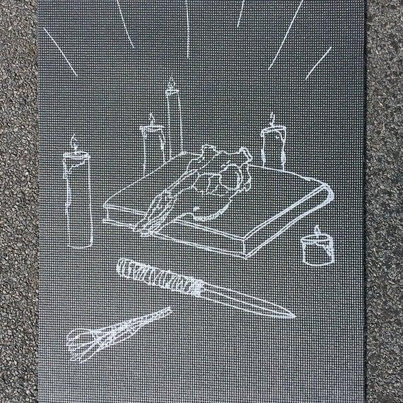 Ritual Black Printed Yoga Mat Witchcraft Sage Candles Yoga