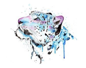 Snow Leopard 2- Leopard Illustration, Leopard Watercolor, Leopard Poster, Leopard Print, Animal Print, Leopard painting, Leopard Wall Art