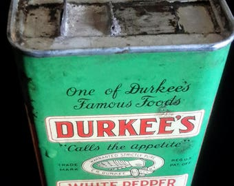 Vintage Durkee's white pepper tin in good condition
