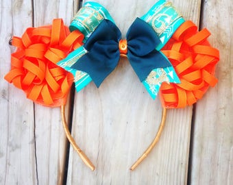 Disney Brave Merida Inspired Orange Curly Hair Minnie Mouse Ears