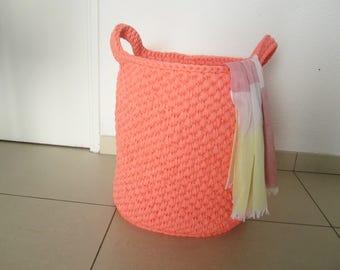 Laundry basket, big basket, crochet basket, bathroom storage, laundry storage, huge yarn basket, coral yarn basket, home housewears, baskets