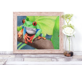 Print frog gift art colourful bright boy girl birthday