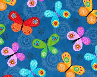 Flight of Fancy, Butterfly Cotton Fabric. BTY.