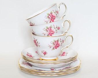 Vintage Colclough Pink Roses - Set of Three Trios
