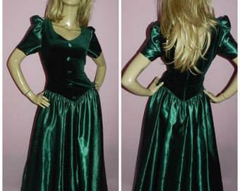Vintage 80s EMERALD GREEN VELVET Maxi Princess prom dress 10-12Uk 6-8Us S 1980s Party Evening