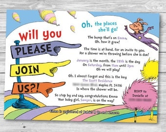 Dr. Seuss Baby Shower Invitation - Personalized Printable Invitation - *BONUS* Diaper Raffle Card Included