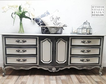 French Provincial Dresser, Sideboard, Buffet, Hand Painted Distressed Custom Finish Option