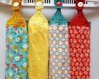 NEW/Pioneer Woman crochet top kitchen hand towel/hanging towel/kitchen towel/hanging kitchen towel/crochet top towel/Pioneer Woman/ towel