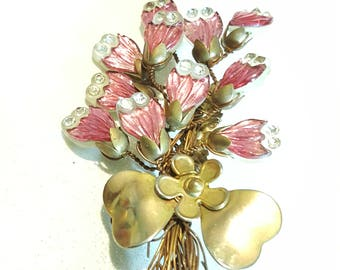 Vintage Pink Flower Pin Brooch Handmade? Goldtone