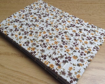 A6 Floral Coptic Bound Notebook Yellow Fabric Covered